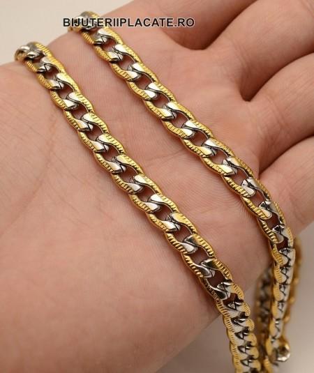 Set Lant+Bratara Inox Cuban Auriu Argintiu Cod S226