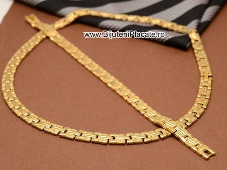 Set Lant Si Bratara Inox Dama Auriu cod 1363C
