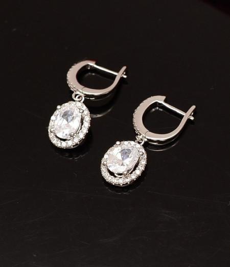 Cercei Din Argint Clear Sapphire cod ARG159
