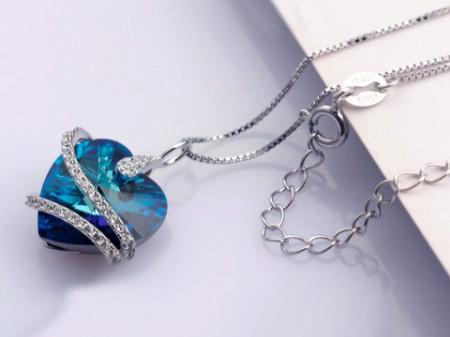 Colier din argint Midnight Heart cu Cristal Swarovski ARG21