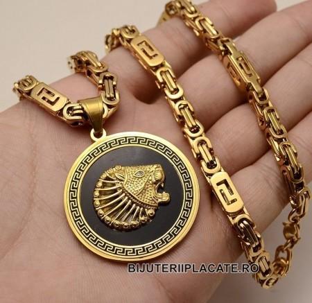 Lant inox --VERSACE-- si Medalion -LION- LC10G