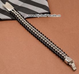 Bratara din inox si piele solida model nou -- B889F