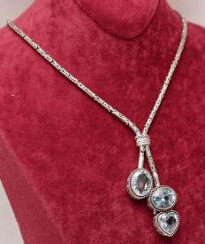 Colier argint 925 rodiat cu Piatra Topaz Cer Albastru ARG314
