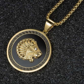 Lant Inox --BLACK-- si Medalion -LION- LC119C