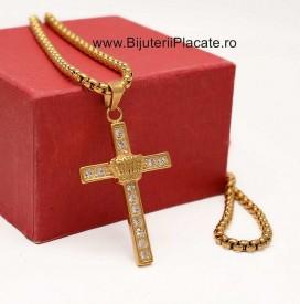 Lant inox si Cruciulita Auriu LC181