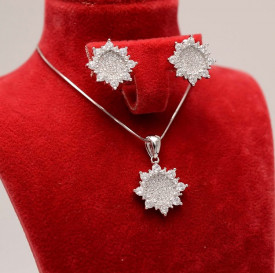 Set Argint 925 Lant,Pandativ si Cercei Rodiat Roze ---- SET278