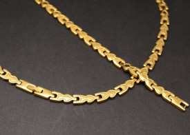 Set Lant Si Bratara Inox Dama Auriu cod 1363H