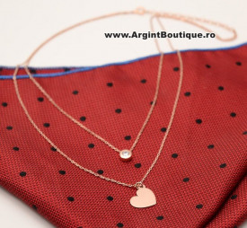 Colier Cu Lantisor Din Argint -- Inima Pink --ARG177C
