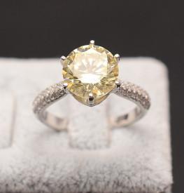 Inel din argint Perfect Engagement Ring Yellow Round Diamond ARG256