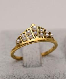 Inel inox auriu -Coroana Cu Perle- Cod IF648T
