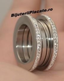 Inel inox Dama cu Pietricele Argintiu  IF619