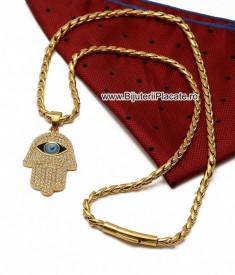 Lant inox + PANDATIV Mana lui Hamsa si Ochiul lui Horus LC147E