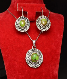 Set Argint 925 Lant,Pandativ si Cercei Handmade Cu Turcoaz Cupru Verde-- SET357B