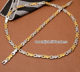 Set Lant Si Bratara Inox Dama Auriu cod 1363D