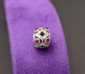 Talisman din argint cu pietre rosi semipretioase- CHA1035