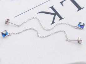 Cercei din argint Fashion ALBASTRU Long Diamonds cod ARG53