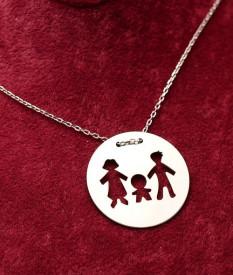 Colier din argint Family 3 persoane Arg340