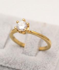 Inel inox auriu de logodna cu ---ZIRCONII--- ALBE Cod IF648H