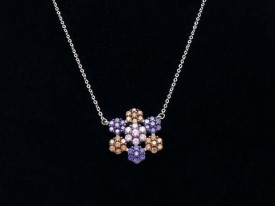 Lantisor Cu Pandativ DIn Argint -- FLOWER MULTICOLOR-- ARG107A