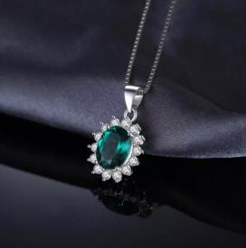Pandantiv cu Lantisor Argint --Green Emerald-- ARG38A