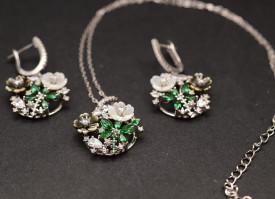 Set Argint 925 Lant,Pandativ si Cercei Rodiat Verde ---- SET360A
