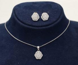 Set din Argint Elegant Flower cu Rodiu si Cristale cod SET309