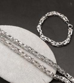 Set Lant+Bratara Inox Cuban Argintiu Cod S116A