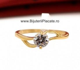 Inel inox auriu de logodna cu ---ZIRCONII--- albe IF646