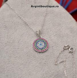 Lantisor Cu Pandativ DIn Argint -- BANUT MULTICOLOR-- ARG147