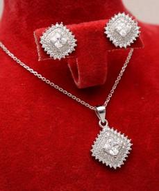 Set Argint 925 Lant,Pandativ si Cercei Rodiat ---- SET326