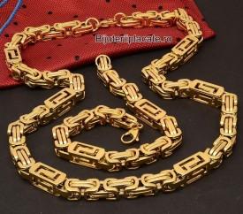 Set Lant Si Bratara Inox Versace Auriu Cod S10