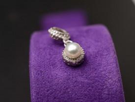 Talisman din argint cu Pandantiv Perla Eleganta si Cristal CHA1022
