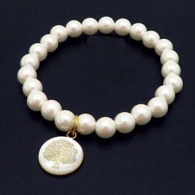 Bratara cu perle albe -Pomu Vietii- BF851C