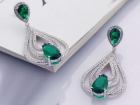 Cercei Din Argint Clear Sapphire cu Sticla Verde cod ARG221