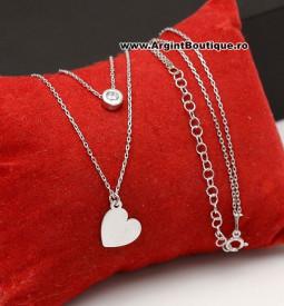 Colier Cu Lantisor Din Argint -- Inima Argintie --ARG177B