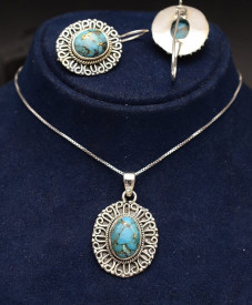 Set Argint 925 Lant,Pandativ si Cercei Handmade Cu Turcoaz ---- SET357