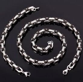 Set Lant+Bratara inox model Byzantine Ton Argintiu si Negru S203