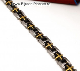 Bratara Inox Ton Negru Auriu cod B883H