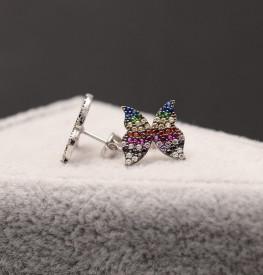 Cercei argint fluturas cu zirconii multicolore, cod Arg334A