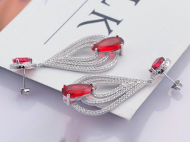 Cercei Din Argint Clear Sapphire cu Sweet Red Pasion cod ARG222