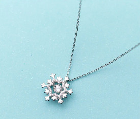 Colier Cu Lantisor Din Argint -- Lovely Snowflake--ARG04A