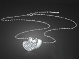 Colierul din argint Heart in Heart ARG191