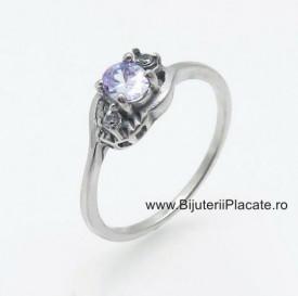 Inel inox agintiu de logodna cu ---ZIRCONII--- albe IF645