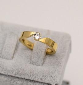 Inel inox auriu de logodna cu ---ZIRCONII--- Cod IF648D