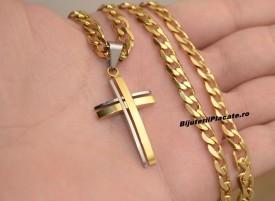 Lant inox si Cruce Auriu LC128C
