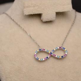Lantisor Cu Pandativ DIn Argint -- Colorful Infinity-- ARG152A