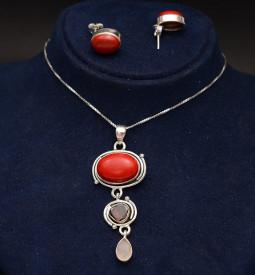 Set Argint 925 Lant,Pandativ si Cercei Handmade Cu Piatra Carneol-- SET357D