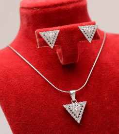 Set Argint 925 triunghi echilateral cu zirconii, cod SET304