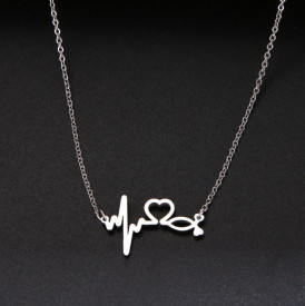 Set Lant+ pandantiv Stethoscope Heartbeat SILVER -FINUT --- Cod LC232L