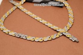 Set Lant Si Bratara Inox Dama Auriu si argintiu cod 1363E